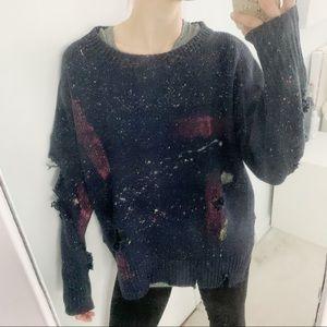 LF paint splattered torn navy sweatshirt L